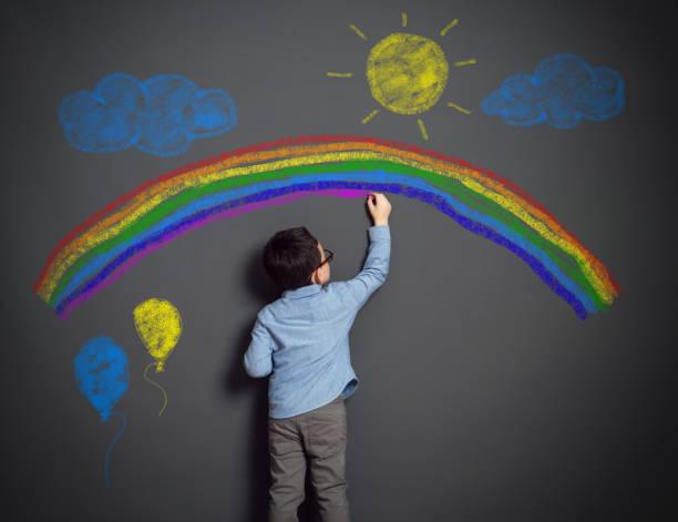 Imagination of little child stock photo