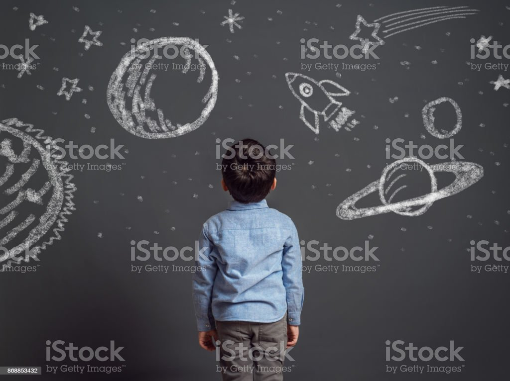 Imagination of little child stock photo