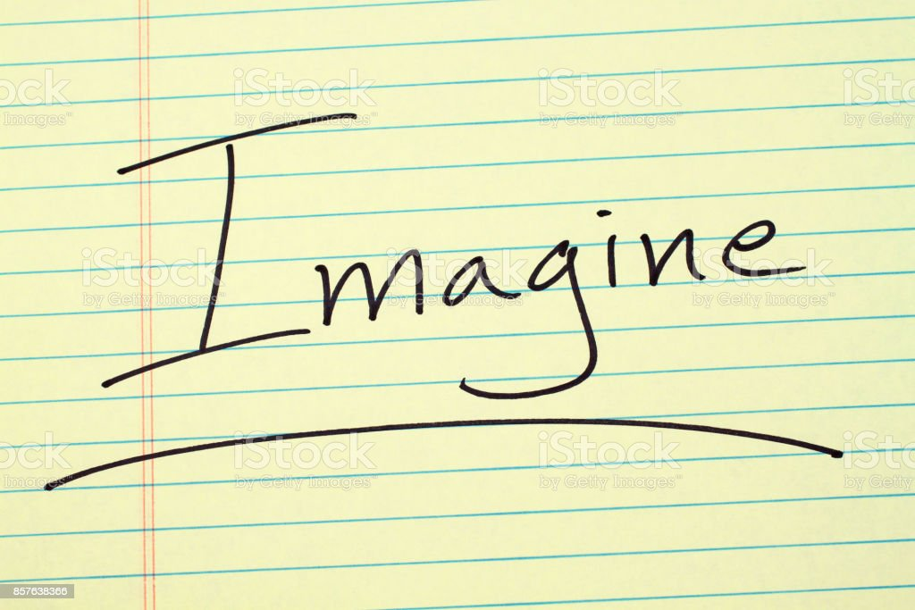 Imagine On A Yellow Legal Pad stock photo
