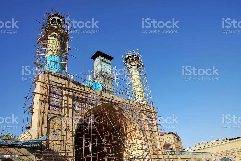 Imam Khomeini Mosque under reconstruction at sunset royalty-free stock photo