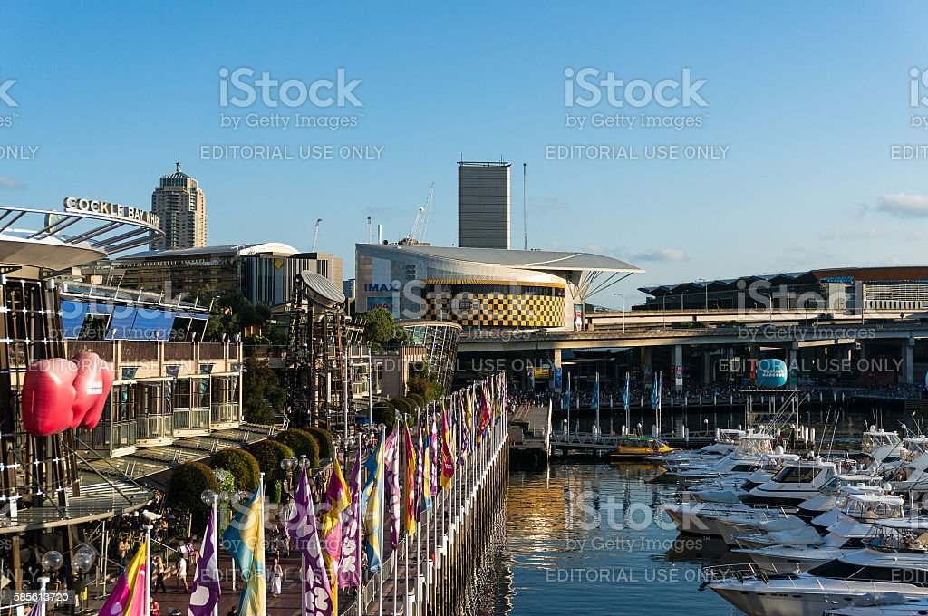 Imax movie theatre building in Darling Harbour stock photo