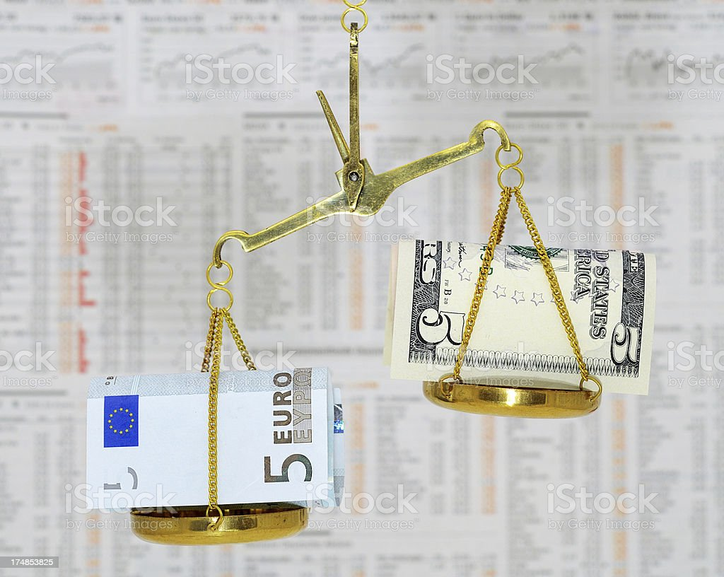 Imbalance of dollar and euro in front stock market data royalty-free stock photo