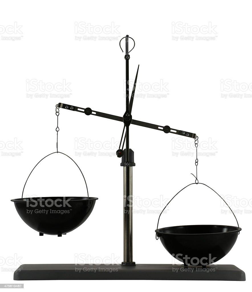 Imbalanced scales isolated on the white background stock photo