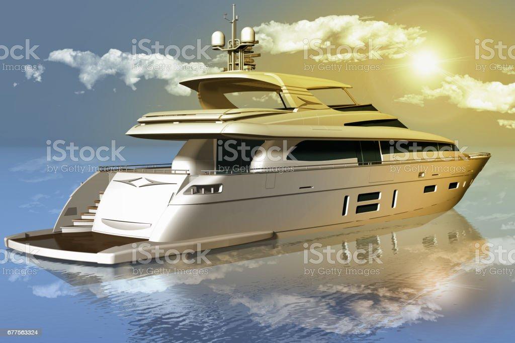 Imbarcazione elegante Yacht. Cielo mare royalty-free stock photo