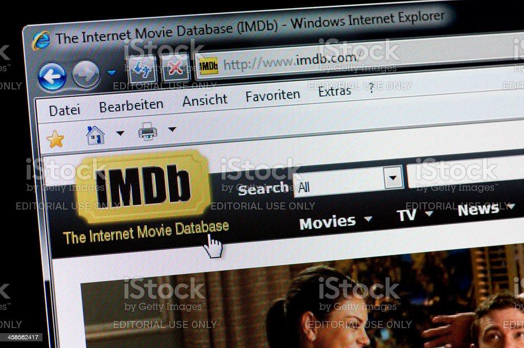 IMDb - Macro shot of real monitor screen stock photo
