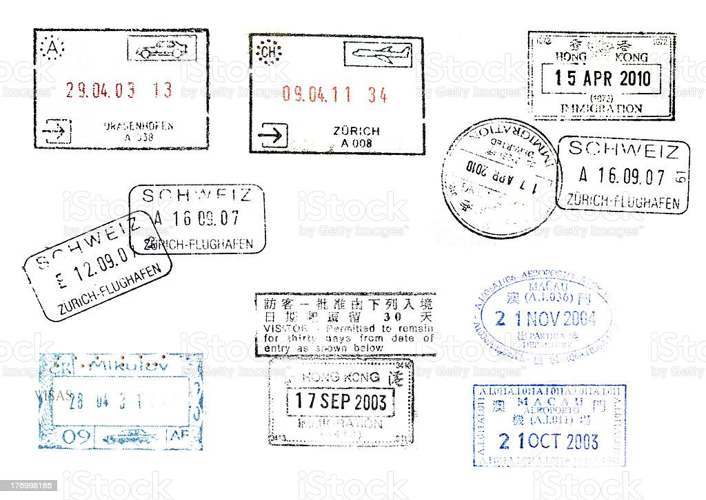 immegration stamps on passport from many countries stock photo