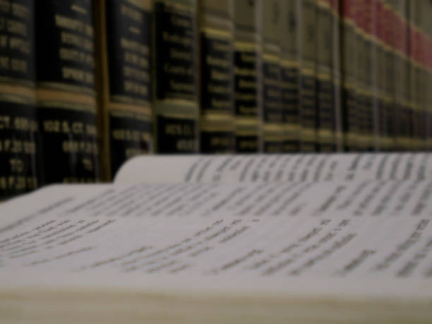 Immersed in legal research stock photo