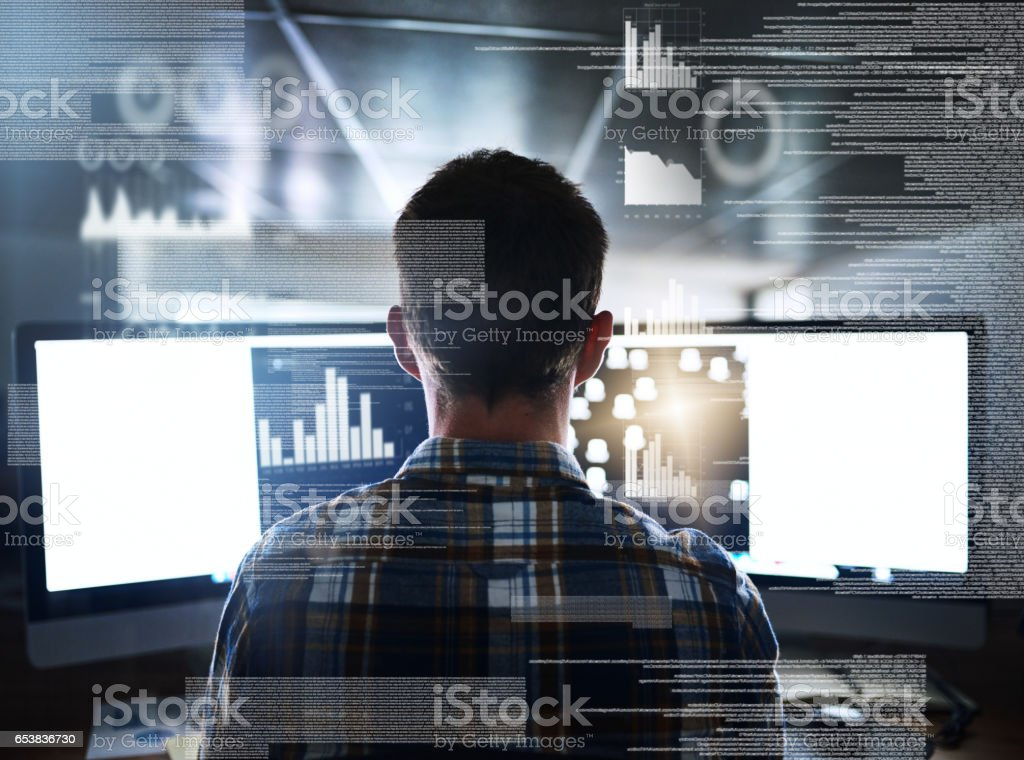 Immersed in the code stock photo