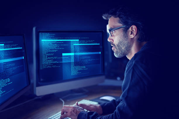 immersed in the metadata - hacker stock photos and pictures
