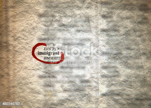 537761721 istock photo Immigrant Definition Word Text in Russian Dictionary Page. 832244752