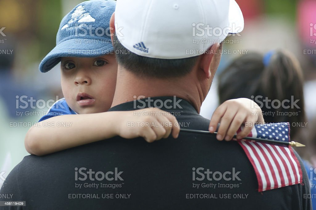 Immigrant Families on the March stock photo