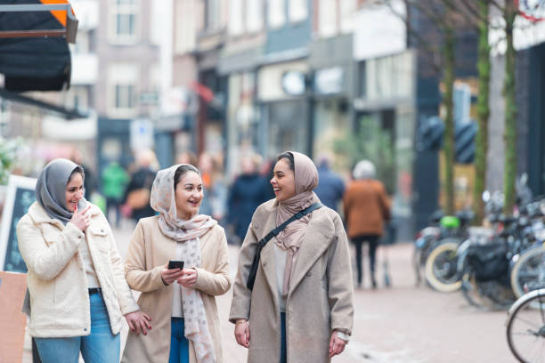 Immigrant muslim girls in Holland stock photo