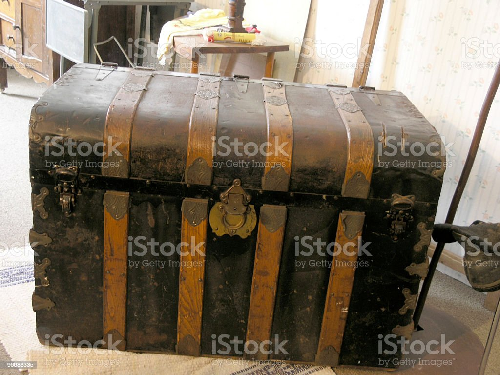 Immigrant Trunk, Carried All Earthly Possessions stock photo