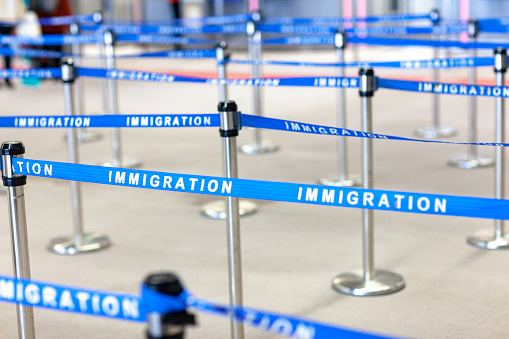 Immigration Board Line Stock Photo - Download Image Now