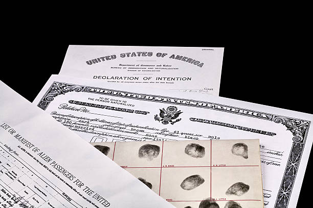 Immigration Documents Certificate of US Citizenship, fingerprint card, Declaration of Intention and Passenger Manifest documents isolated on white green card stock pictures, royalty-free photos & images