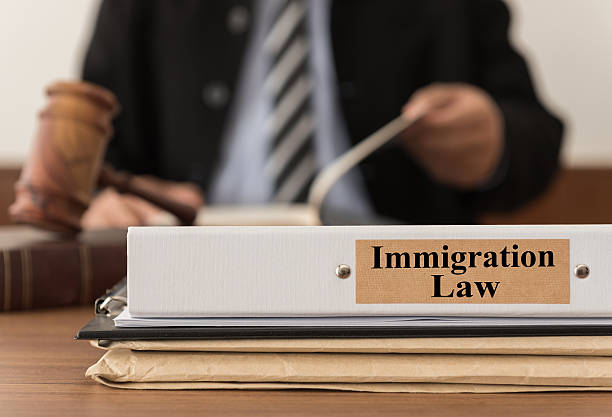 immigration law close up lawsuit folder of immigration law with the judge is considering a lawsuit in background. concept of immigration law. deportation stock pictures, royalty-free photos & images