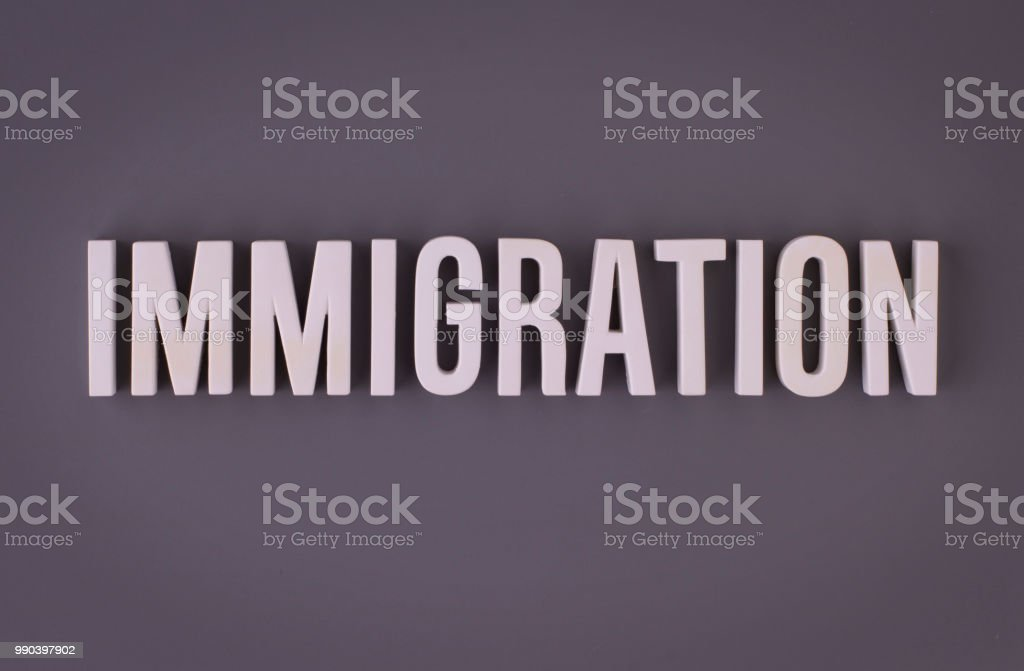 Immigration lettering sig stock photo