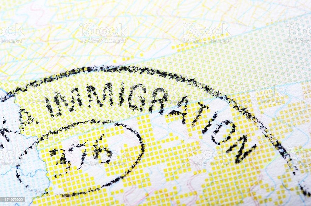 Immigration Passport Stamp royalty-free stock photo