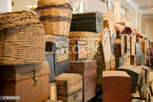 immigration concept,, old suit cases piled up