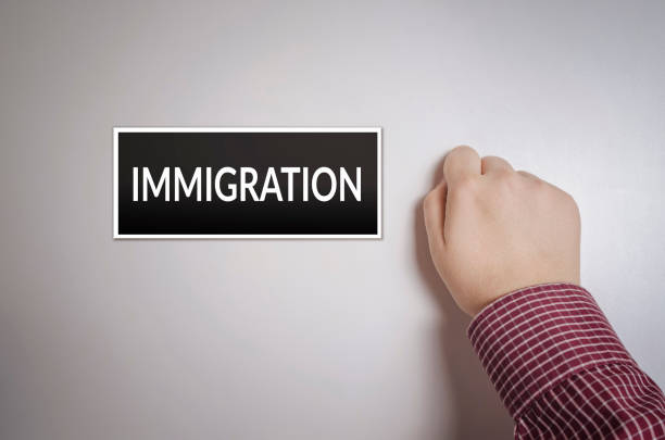 Immigration Male hand is knocking on Immigration door, conceptual image. green card stock pictures, royalty-free photos & images