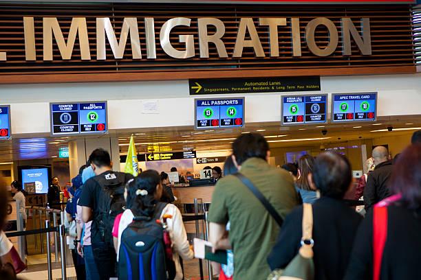 Lugar de imigração de Cingapura sudeste da Ásia - foto de acervo