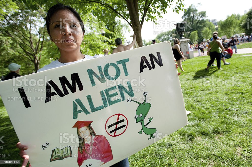 Immigration Protest at White House stock photo