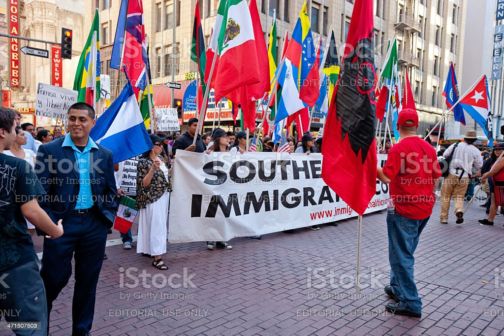 Immigration Reform March, May Day, Los Angeles royalty-free stock photo