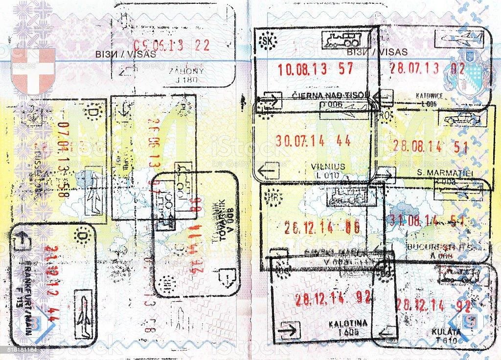 Einreisestempel Von Schengen Ländern Lizenzfreies Stock Foto