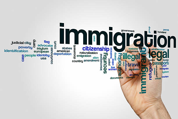 immigration word cloud concept - emigration and immigration stock photos and pictures
