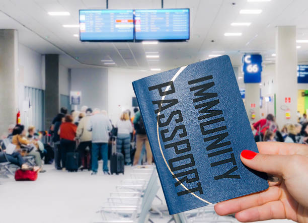 Immunity passport against Coronavirus Covid-19 at airport travel concept stock photo