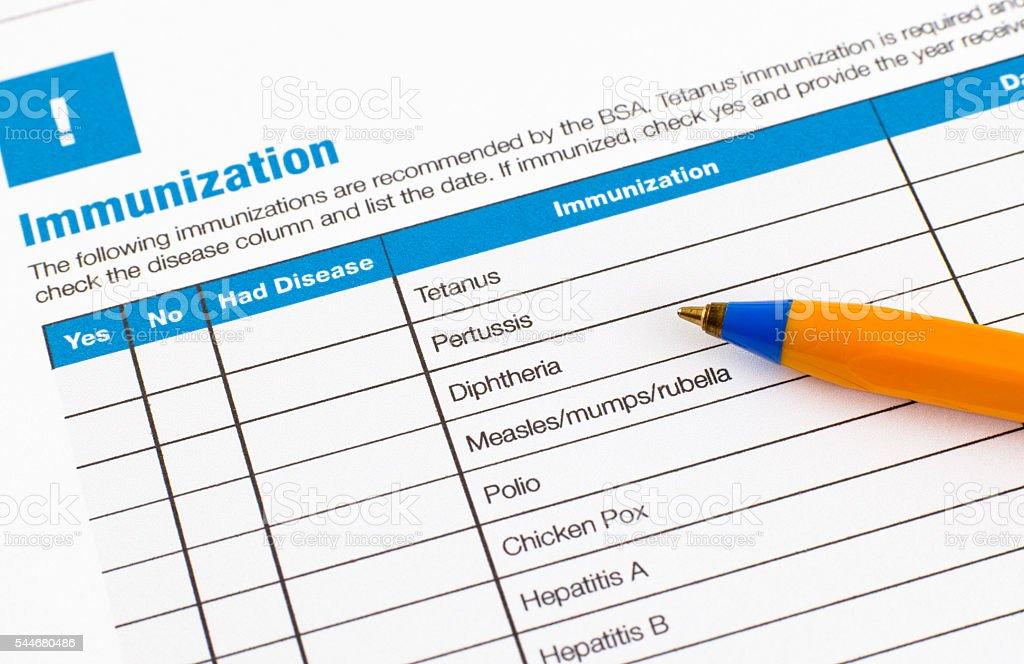 Immunization application form stock photo