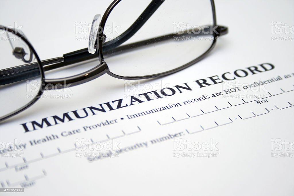 Immunization record stock photo