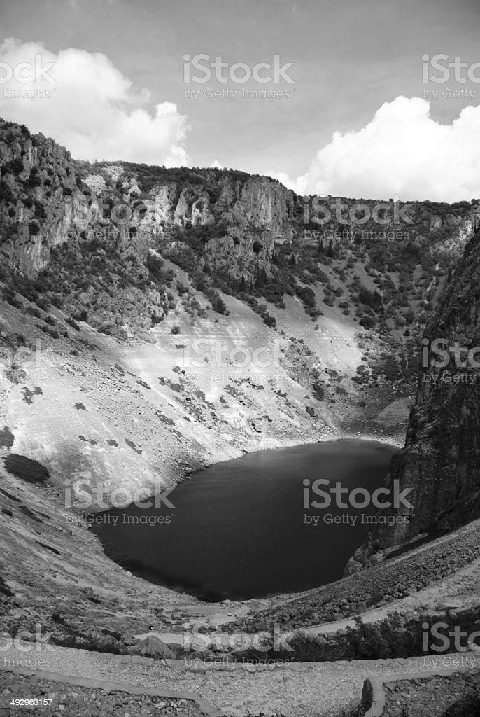 Imotski, famous Blue Lake in Croatia stock photo