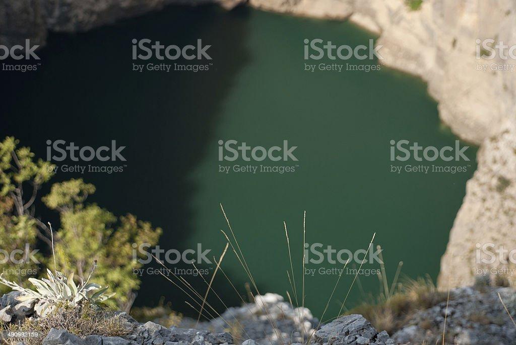 Imotski, famous Red Lake in Croatia stock photo
