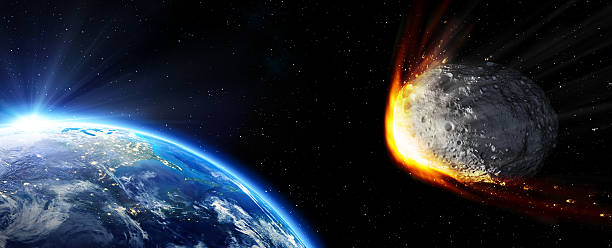 Impact Earth - meteor in route collision stock photo