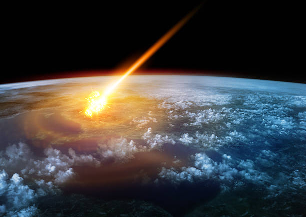 Impact Earth A Meteor glowing as it enters the Earth's atmosphere impact stock pictures, royalty-free photos & images