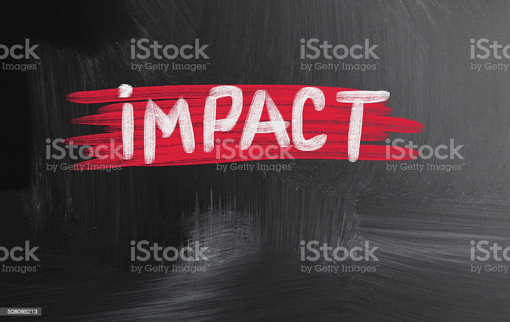 impact handwritten with chalk on a blackboard stock photo