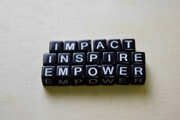 Impact - Inspire - Empower on wooden blocks. Business and inspiration concept stock photo