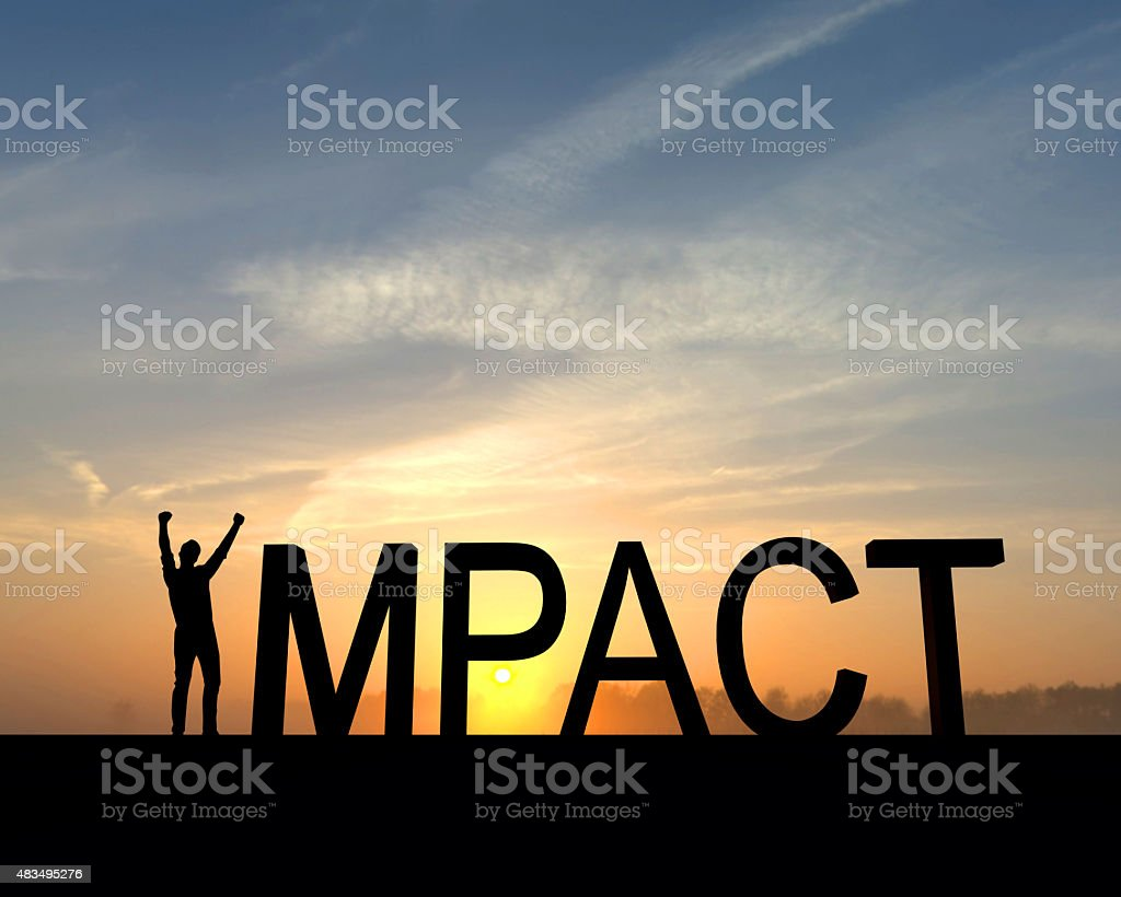 Impact success silhouette stock photo