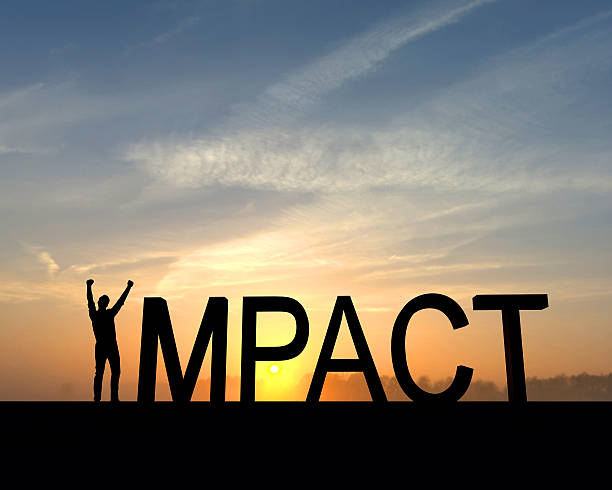 Impact success silhouette The word impact is silhouetted against an orange and blue sunset. The I in the word is made from a figure with their arms raised up in the air in a successful victory pose. impact stock pictures, royalty-free photos & images