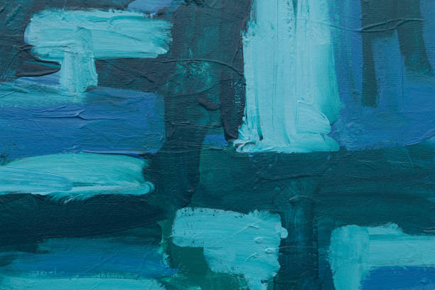 Impasto Acrylic Background in Shades of Blue stock photo