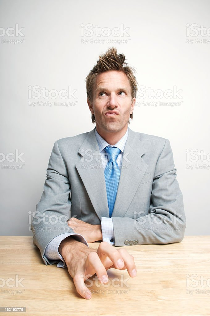 Impatient Businessman Office Worker Drumming Fingers on Desk stock photo