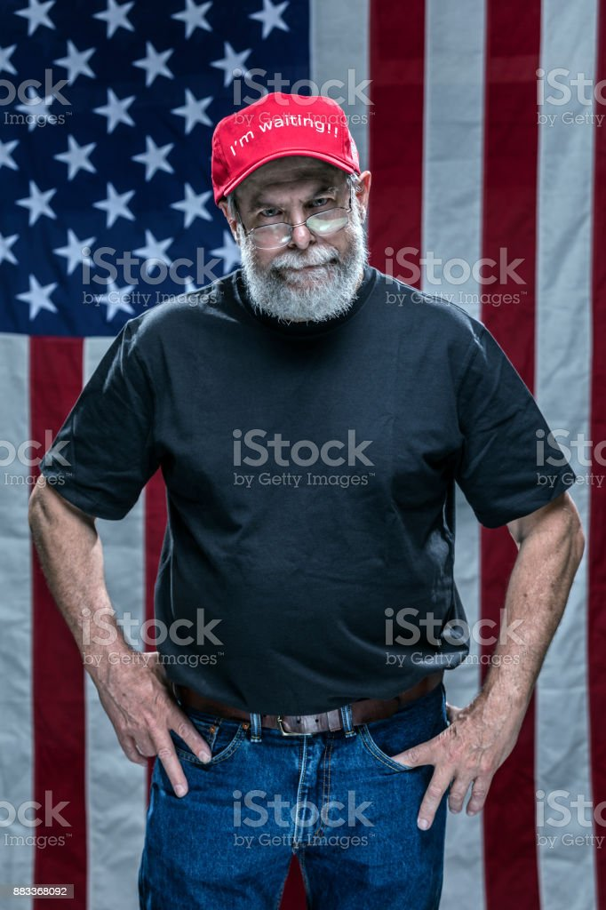 Impatient Skeptical Disgusted Partisan Redneck Republican Voter stock photo