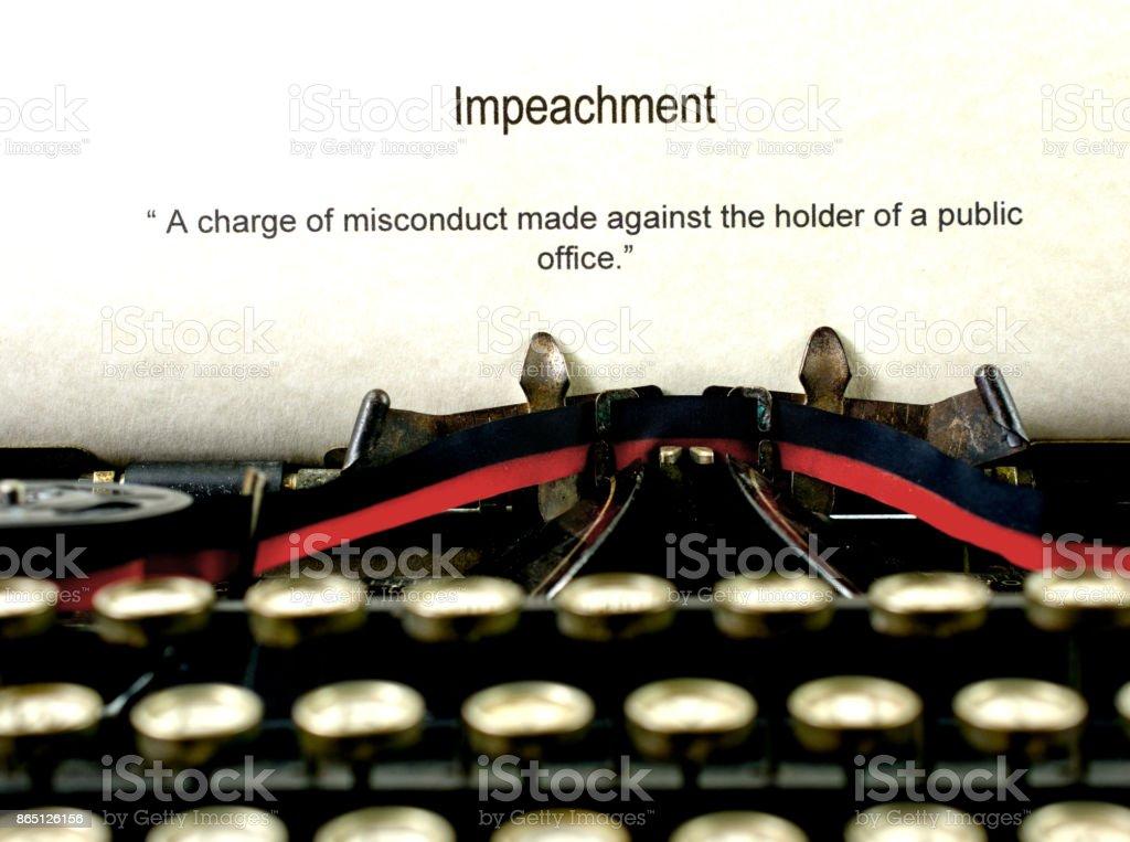 Impeachment definition on an antique typewriter stock photo