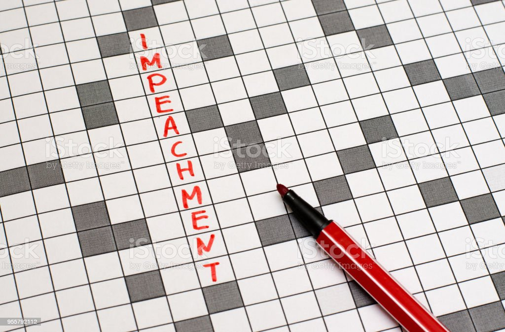 Impeachment. Text in crossword. Red letters. Close-up stock photo