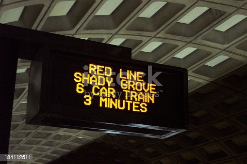 A sign announces the impending arrival of a train on Washington's Metro system.See more transportation images: