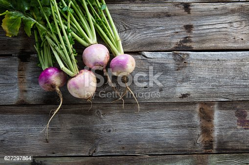 copy space for sustainable agriculture and vegetarian food with imperfect organic turnips, fresh green tops and roots on authentic old wood background, flat lay