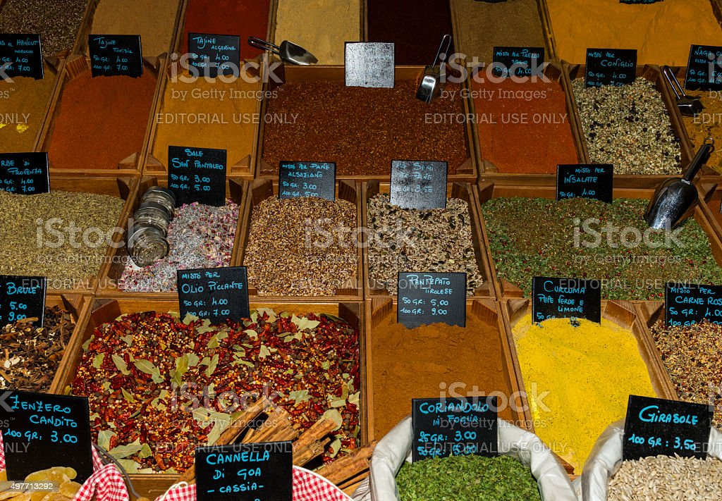 Imperia (Italy). Stand of a spice seller in the market stock photo