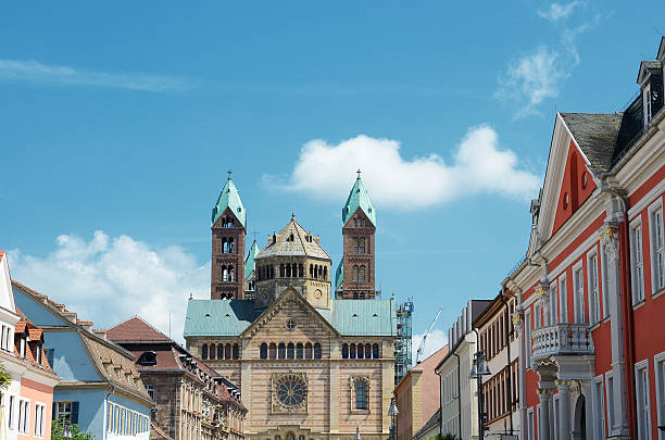 Imperial cathedral in speyer germany with house front stock photo