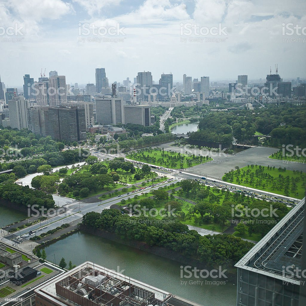 Imperial Gardens - Business District -Tokyo stock photo